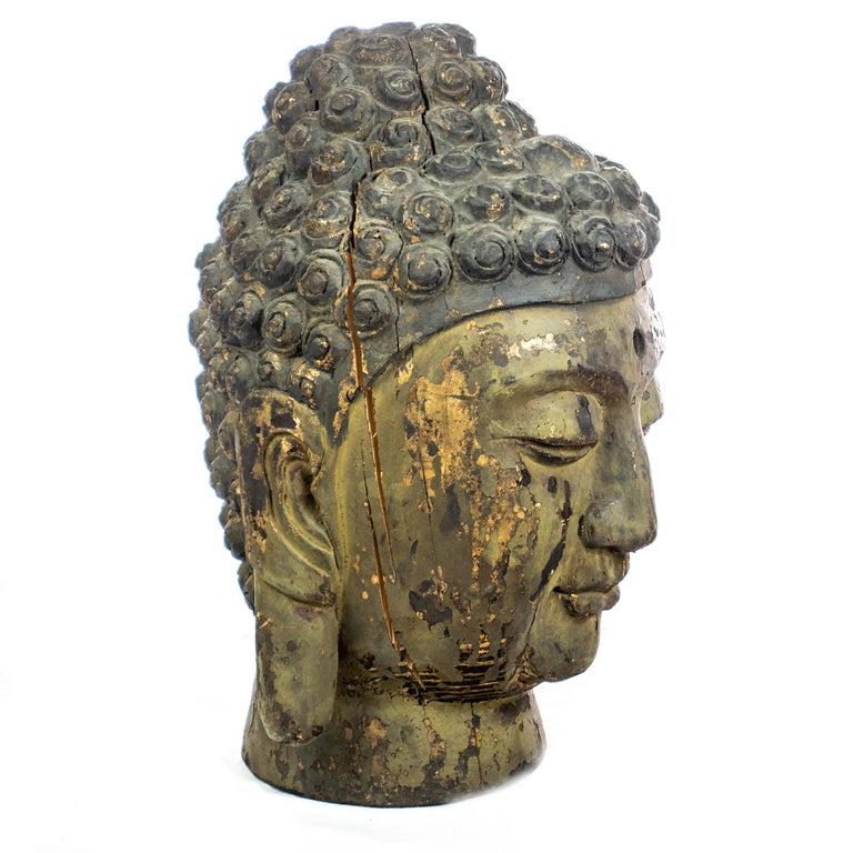 Hand-Carved Buddha Antique Handmade Carved Wood Head Bust Asian Meditation Sculpture