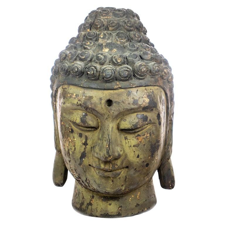 Buddha Antique Handmade Carved Wood Head Bust Asian Meditation Sculpture