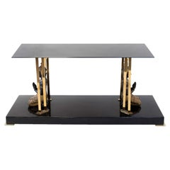 Buddha Coffee Table in Black Lacquer, Glass and Gilt Brass, 1970s