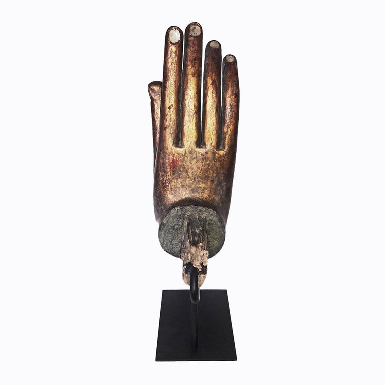 Gold Buddha Hand Sculptures, Late 20th Century For Sale 1
