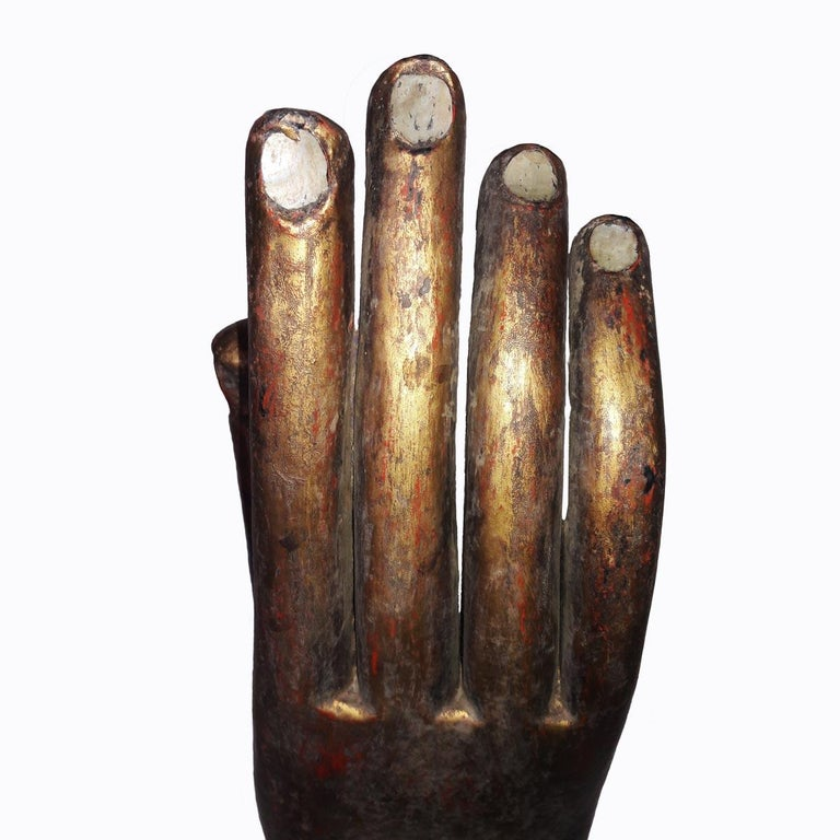 Gold Buddha Hand Sculptures, Late 20th Century For Sale 2