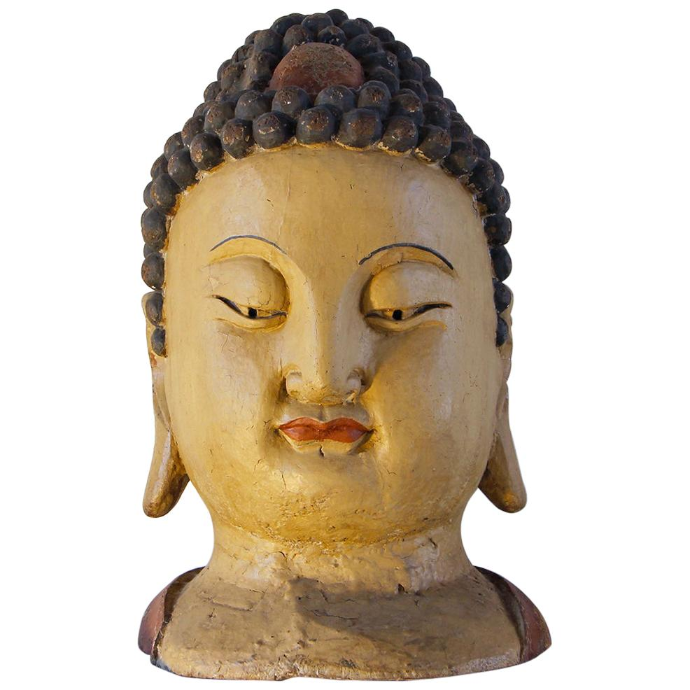 Buddha Head, Chinese Oversized Wood Sculpture Painted and Lacquered