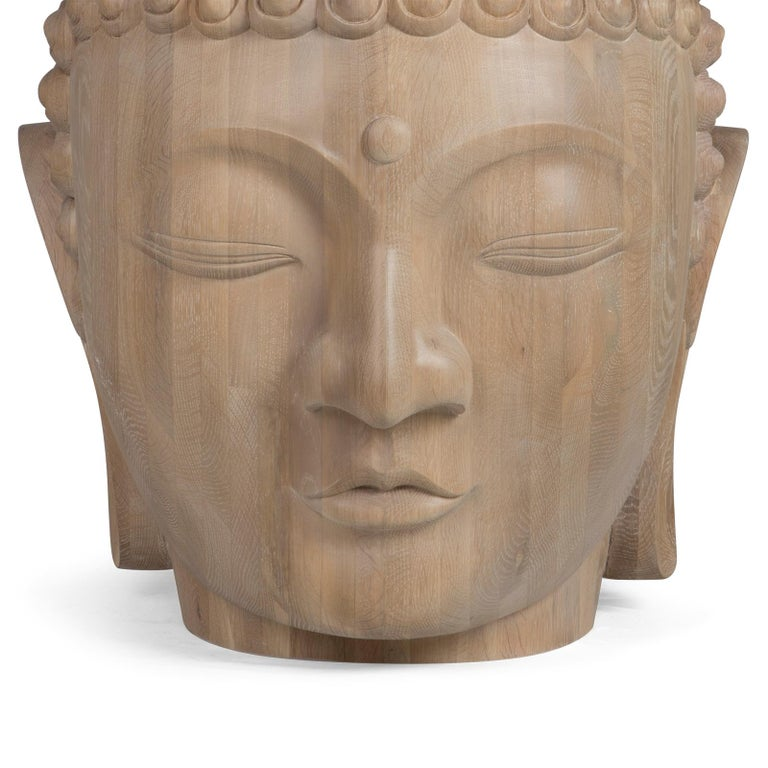 English Buddha Head Sculpture in Solid Oak For Sale