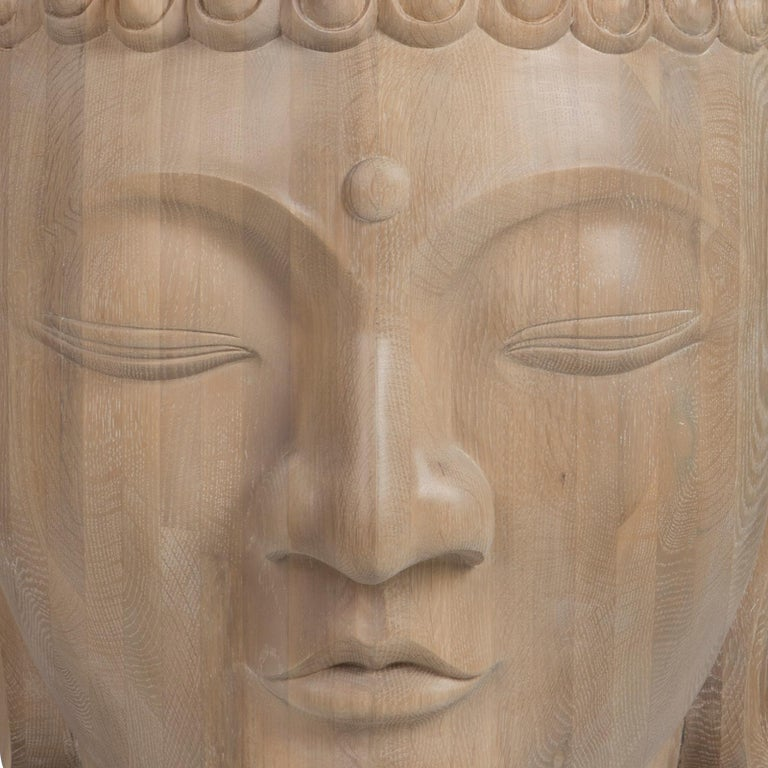 Hand-Carved Buddha Head Sculpture in Solid Oak For Sale