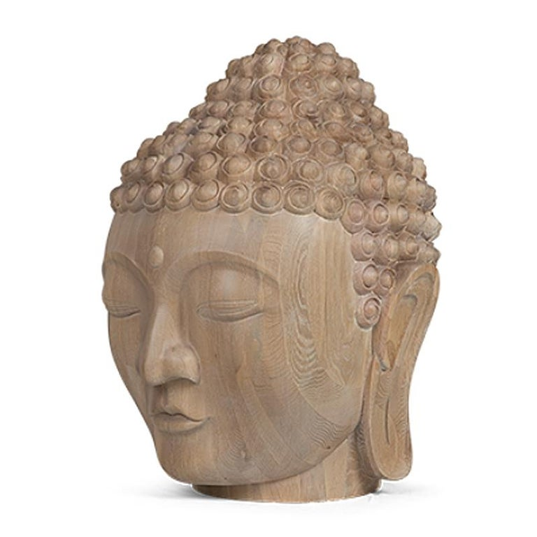 Buddha Head Sculpture in Solid Oak In New Condition For Sale In Paris, FR
