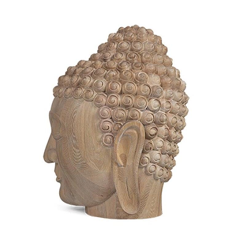 Buddha Head Sculpture in Solid Oak For Sale 1