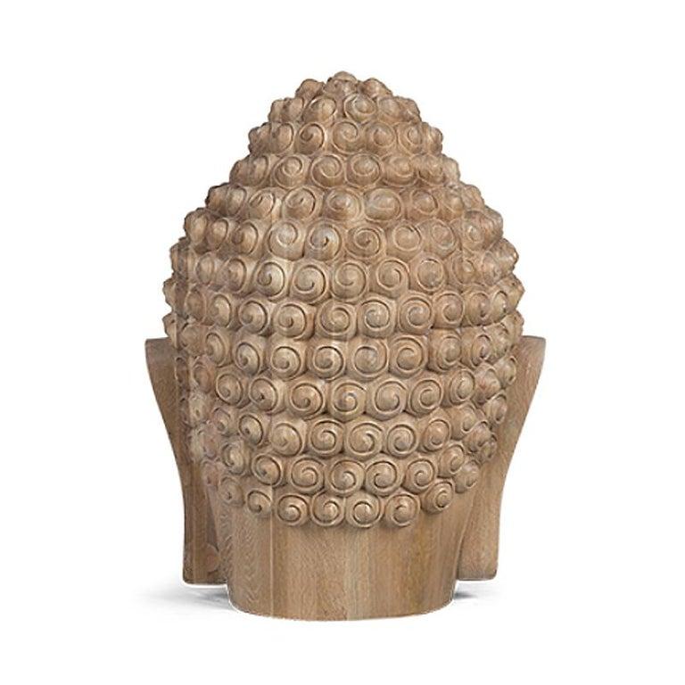 Buddha Head Sculpture in Solid Oak For Sale 2