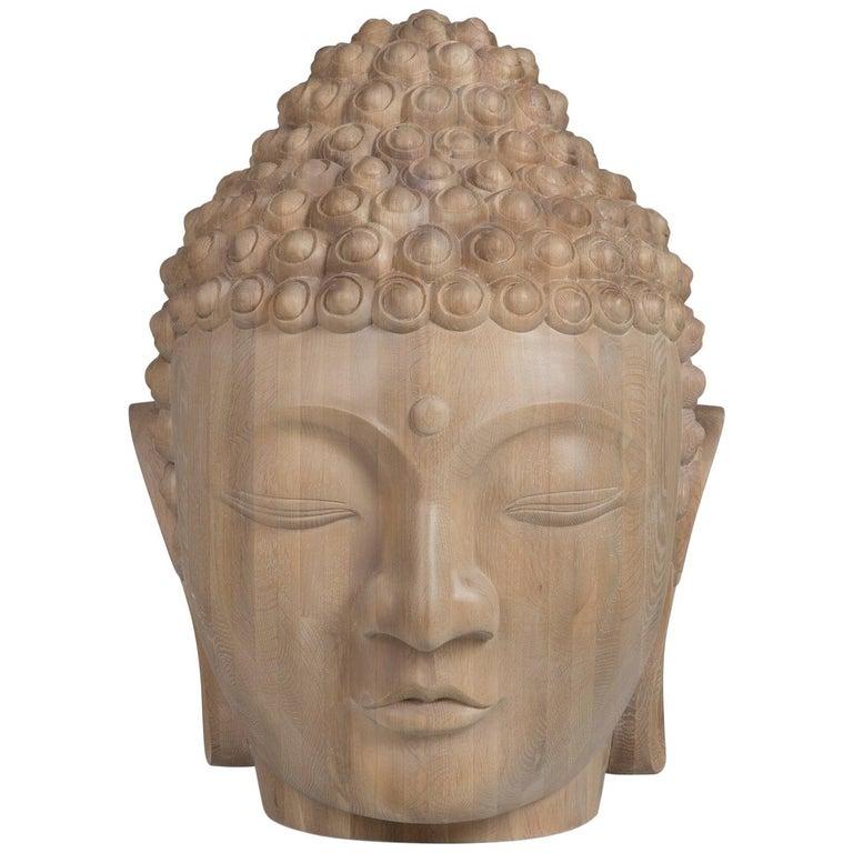 Buddha Head Sculpture in Solid Oak For Sale