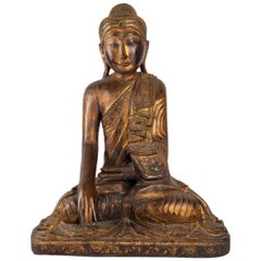Buddha in Carved Wood Thailand, Middle of the 20th Century