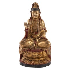 Buddha in Golden Wood and Red Lacquer Beef Blood, China, 21st Century