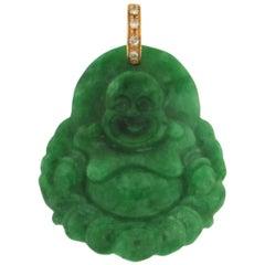 Buddha Jade 18 Karat Yellow Gold Diamonds Pendant Necklace