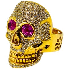 Buddha Mama 20K Yellow Gold Diamond and Pink Tourmaline Scull Coctail Ring