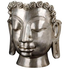 Buddha Mask, in Cast Bronze, Nickel-Plated finishing, Italy