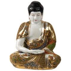 Buddha Meditation Porcelain Stazuma Decor Polychrome Lotus, 1920-1930