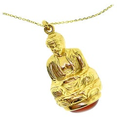 Buddha on Coral in Yellow Gold Pendant Necklace