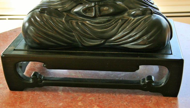 Mid-20th Century Buddha Sculpture on Wood Base For Sale