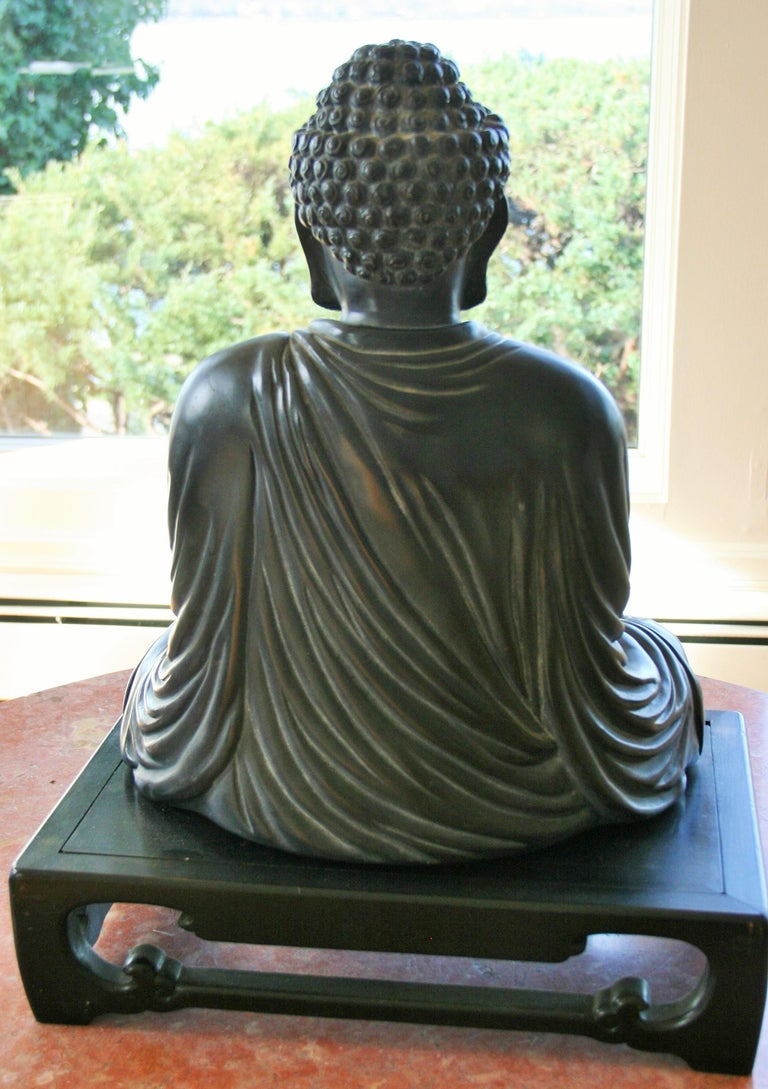 Plaster Buddha Sculpture on Wood Base For Sale