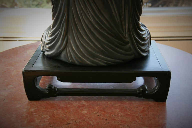 Buddha Sculpture on Wood Base For Sale 1