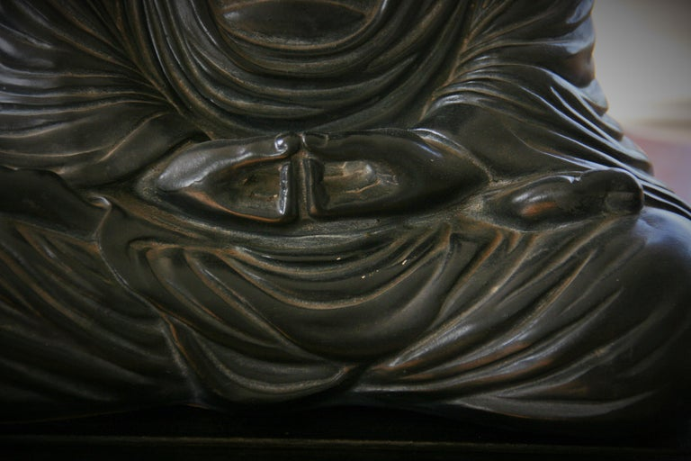 Buddha Sculpture on Wood Base For Sale 3