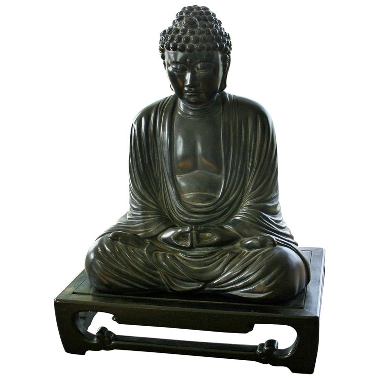 Buddha Sculpture on Wood Base For Sale