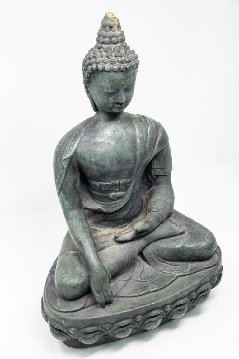 Chinese Export Buddha Sandstone Garden Statue, Contemporary For Sale