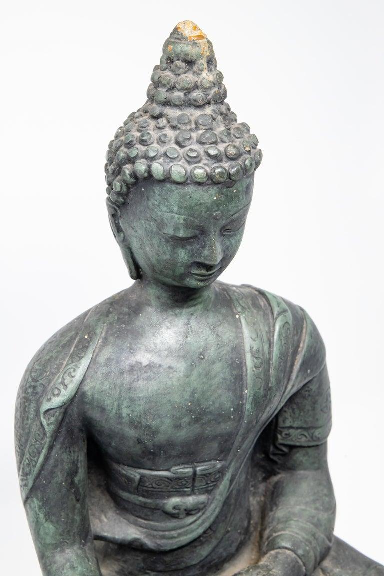 Chinese Buddha Sandstone Garden Statue, Contemporary For Sale