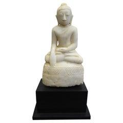 Buddha Statue 19th Century Alabaster