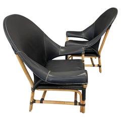 Budji Layug Leather and Rattan Chairs