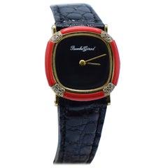 Bueche Girod 18 Karat Yellow Gold, Diamond, and Coral Wristwatch