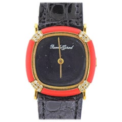 Bueche Girod Diamond Gold Coral Wristwatch