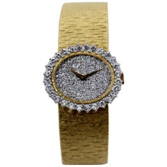 Bueche Girod Gold Watch with Diamond Bezel and Pave Diamond Dial