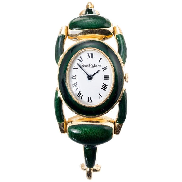 Bueche Girord Enamel Yellow Gold Equestrian Wristwatch For Sale