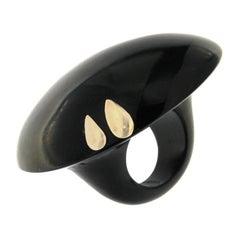 Bufalo Horn Ring 18 Karat Yellow Gold Satin Finish