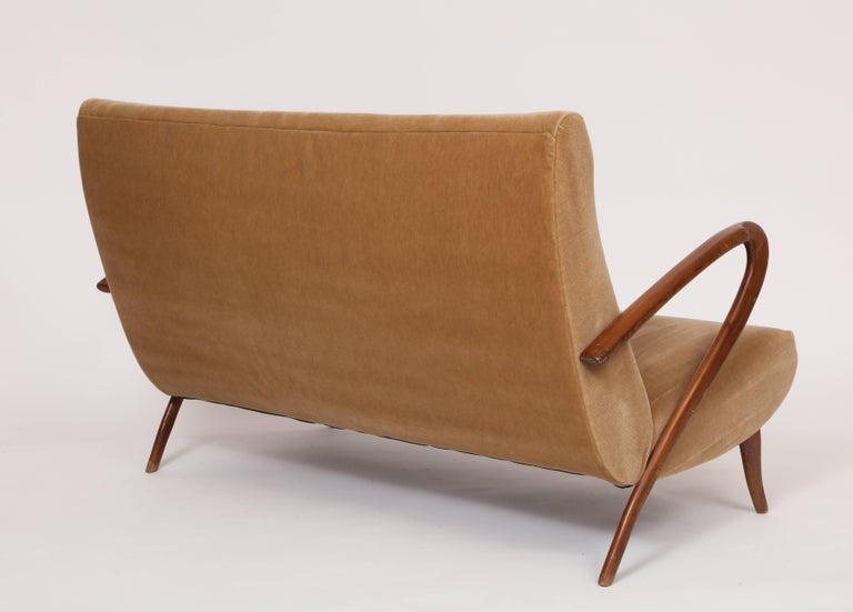 Mid-Century Modern Buffa Style Italian Midcentury Settee with Camel Mohair Fabric, Italy, 1950s For Sale