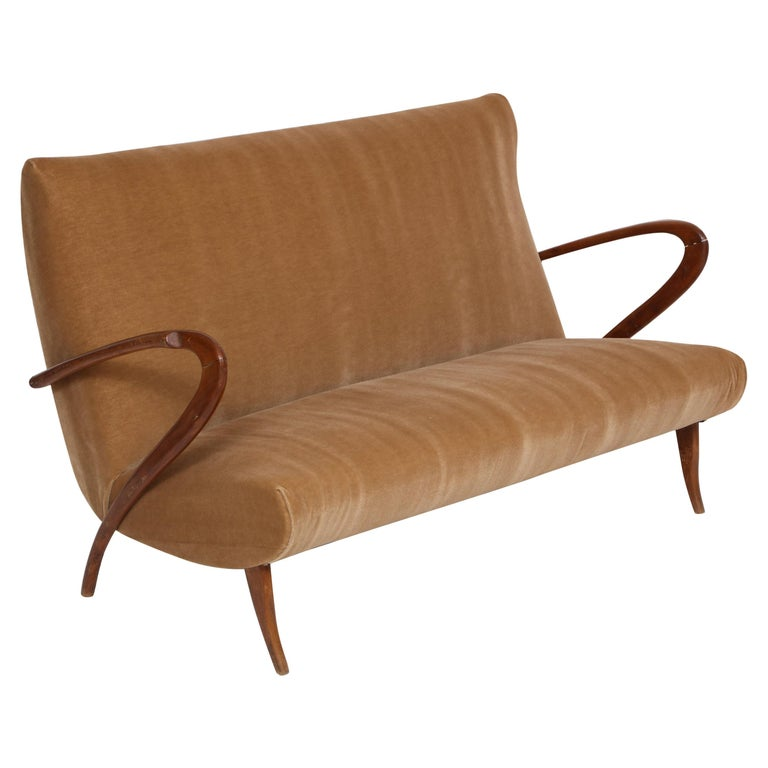 Buffa Style Italian Midcentury Settee with Camel Mohair Fabric, Italy, 1950s For Sale