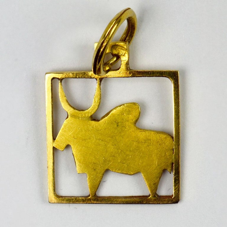 Women's or Men's Buffalo 18k Yellow Gold Square Charm Pendant For Sale