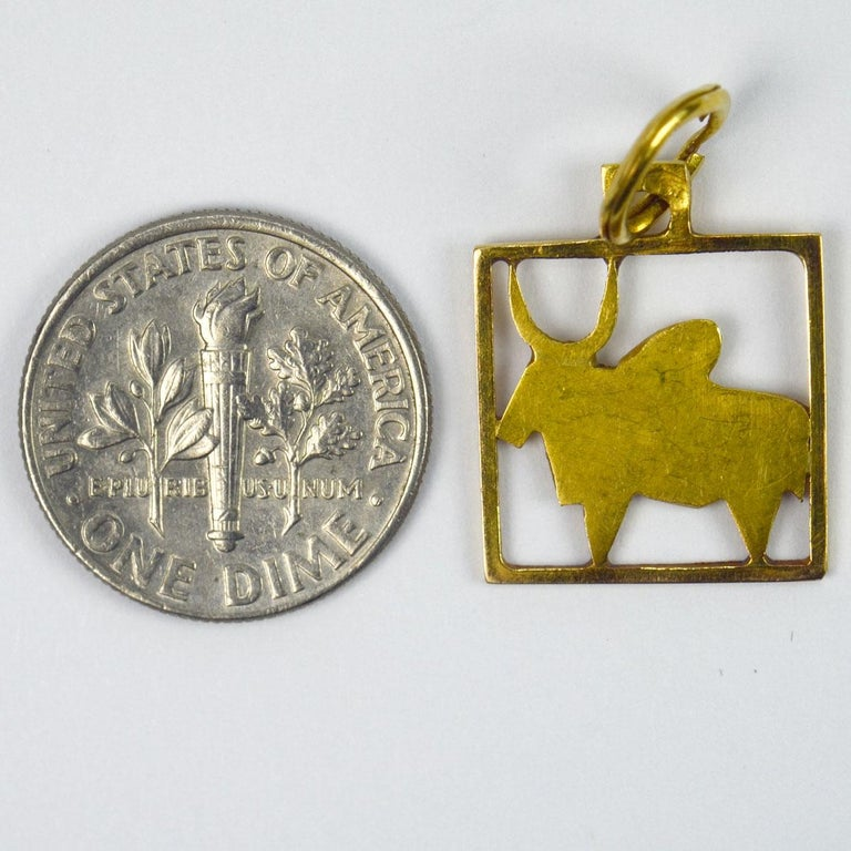 Buffalo 18k Yellow Gold Square Charm Pendant For Sale 2