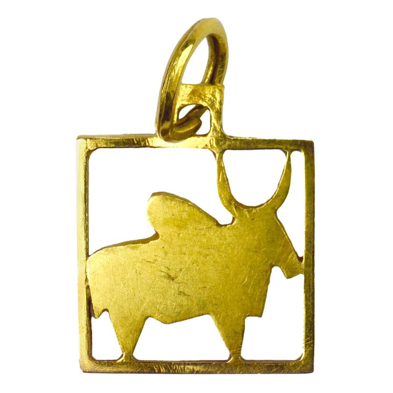 Buffalo 18k Yellow Gold Square Charm Pendant For Sale