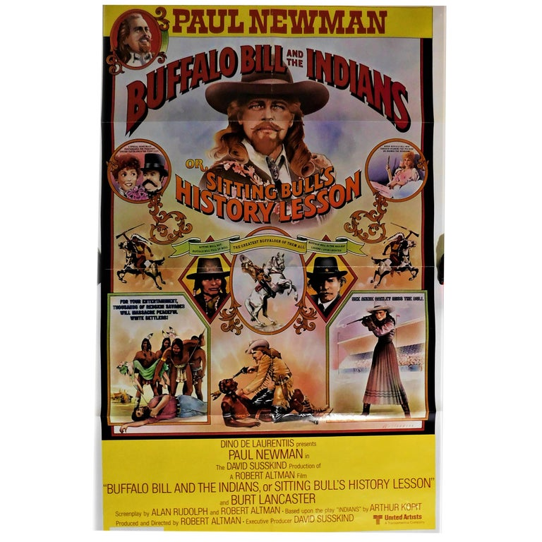 """""""Buffalo Bill and the Indians"""" 1976 Theatrical Movie Poster Paul Newman For Sale"""