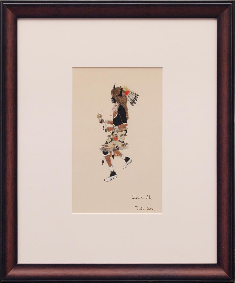 Original signed painting of a Pueblo Buffalo Dancer by early 20th century Native American artist, Tonita Peña (1895-1949). Also known as Quah Ah (her Tewa name), Peña was born in San Ildefonso, a small village in New Mexico, and later moved to