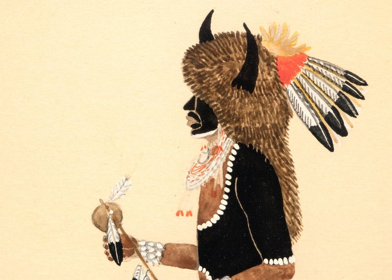 Buffalo Dancer, 1920s Native American Painting by Tonita Peña 'Quah Ah' In Good Condition For Sale In Denver, CO
