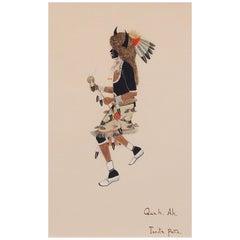 Buffalo Dancer, 1920s Native American Painting by Tonita Peña 'Quah Ah'