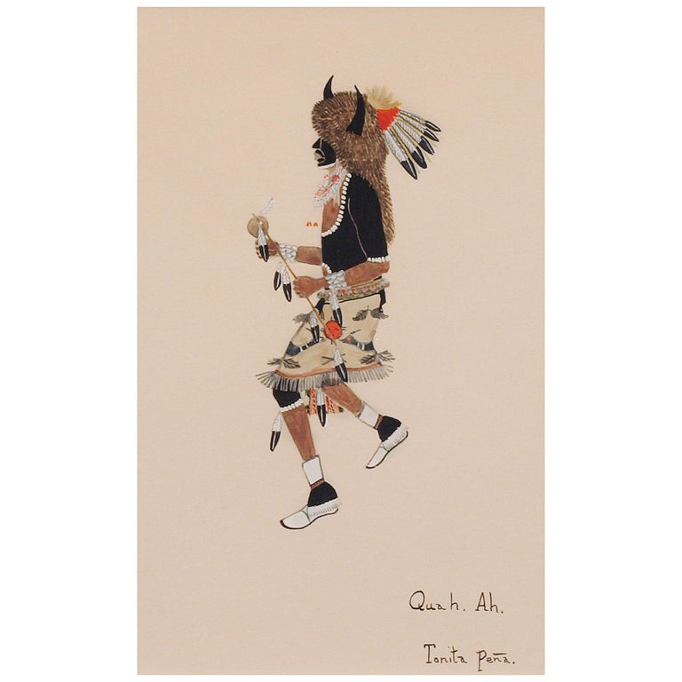 Buffalo Dancer, 1920s Native American Painting by Tonita Peña 'Quah Ah' For Sale