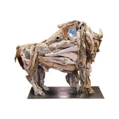 Buffalo Driftwood Sculpture By Tina Milsavljevich