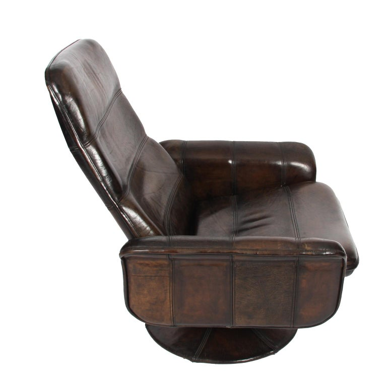 Buffalo Leather Lounge Chair with Ottoman by De Sede For Sale 1