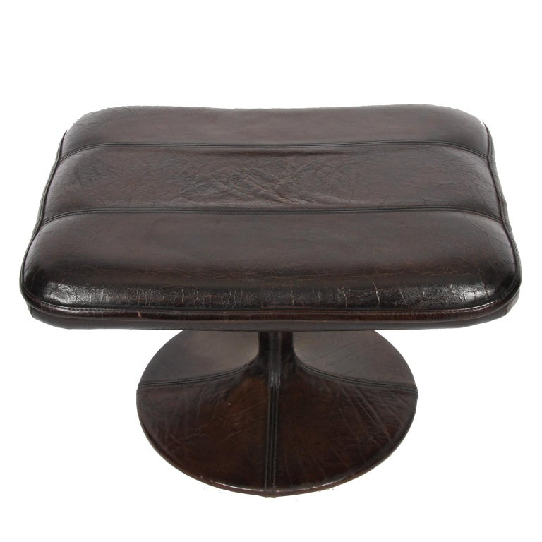 Buffalo Leather Lounge Chair with Ottoman by De Sede For Sale 2