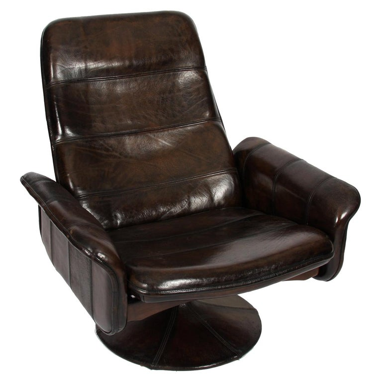 Buffalo Leather Lounge Chair with Ottoman by De Sede For Sale