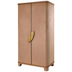 Buffet Cabinet 2 Wings Door Upholstered Nabuk Led Lighting with Opening Sensor
