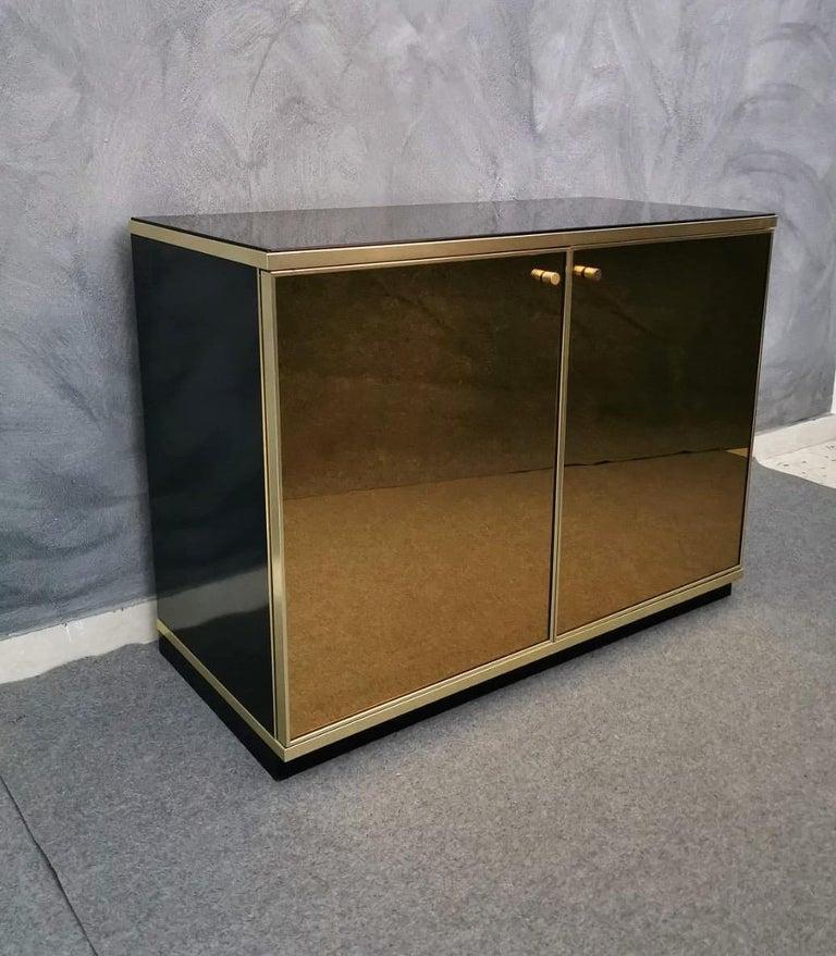 Italian Buffet Cabinet Brass and Mirror by Renato Zevi, Italy, 1970s
