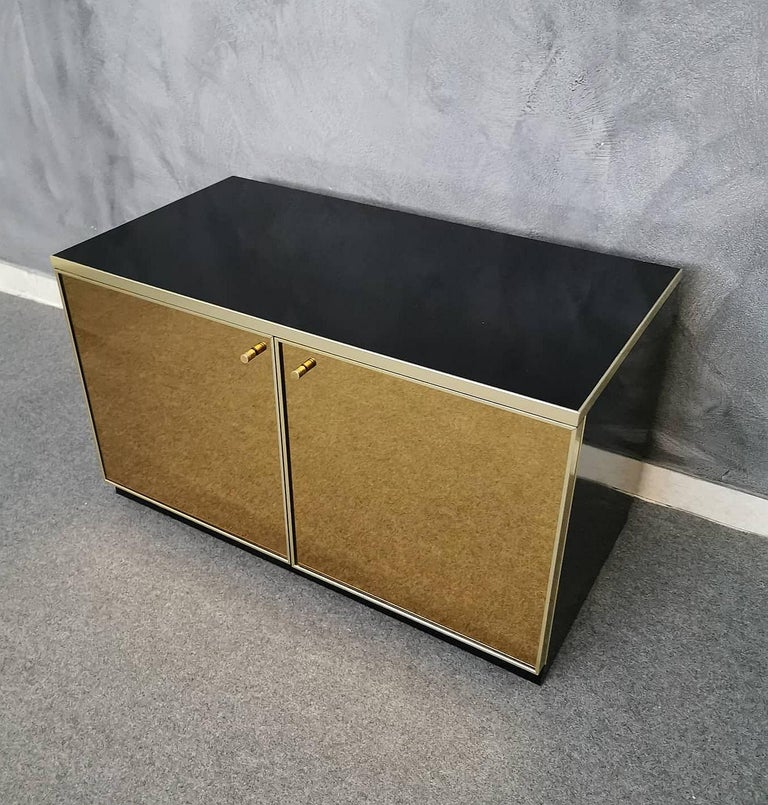 Buffet Cabinet Brass and Mirror by Renato Zevi, Italy, 1970s In Good Condition In SAINT-OUEN, FR